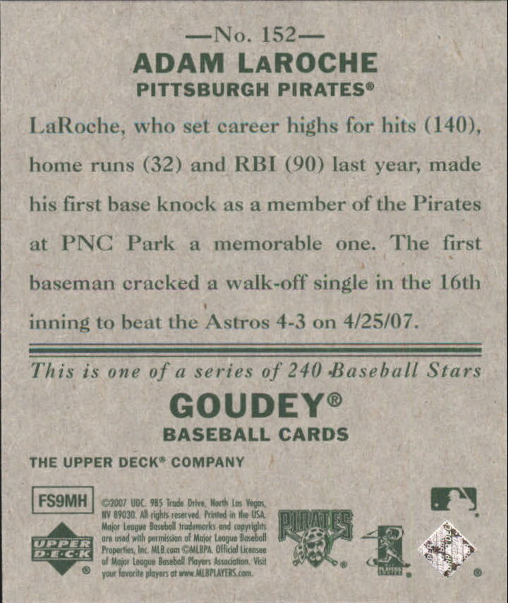 2007 Upper Deck Goudey #152 Adam LaRoche (RC) back image