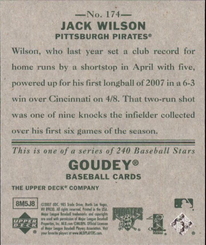 2007 Upper Deck Goudey #174 Jack Wilson back image