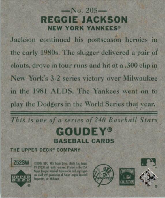 2007 Upper Deck Goudey #205 Reggie Jackson SP back image