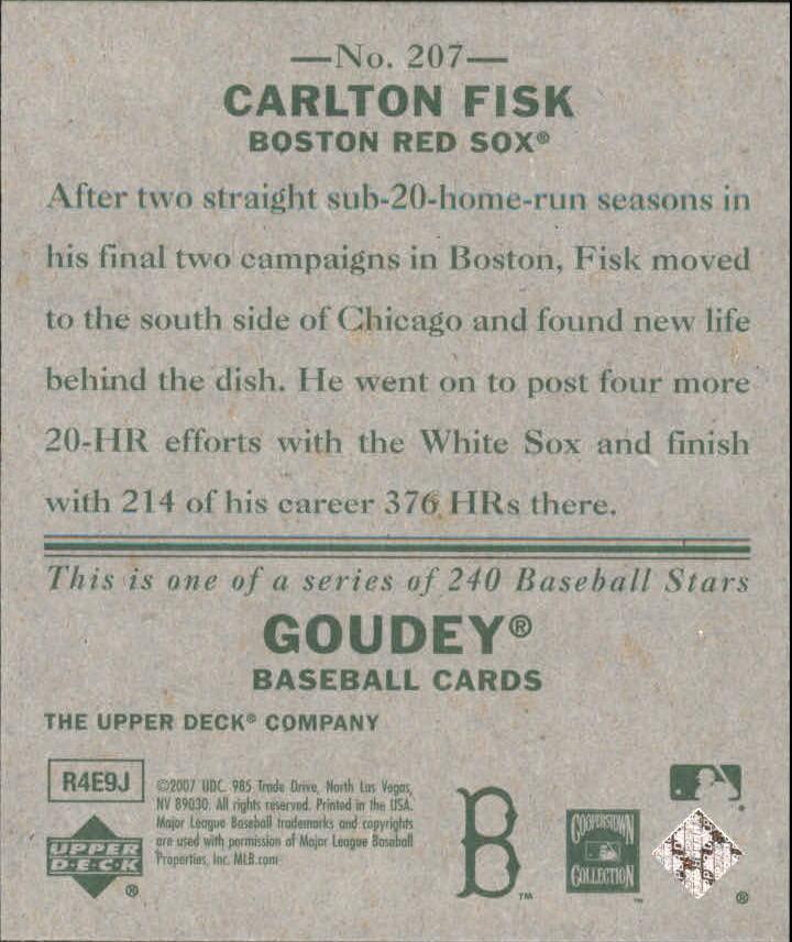 2007 Upper Deck Goudey #207 Carlton Fisk SP back image