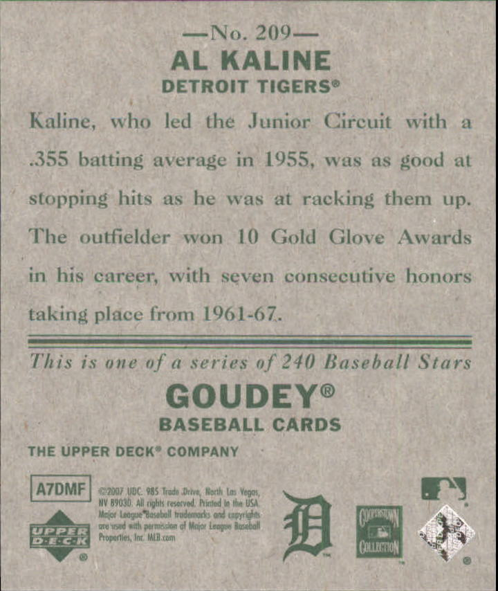 2007 Upper Deck Goudey #209 Al Kaline SP back image