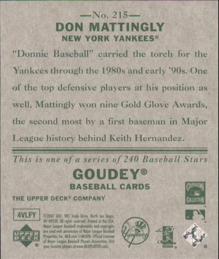 2007 Upper Deck Goudey #215 Don Mattingly SP back image