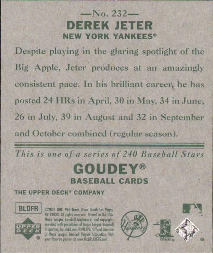 2007 Upper Deck Goudey #232 Derek Jeter SP back image