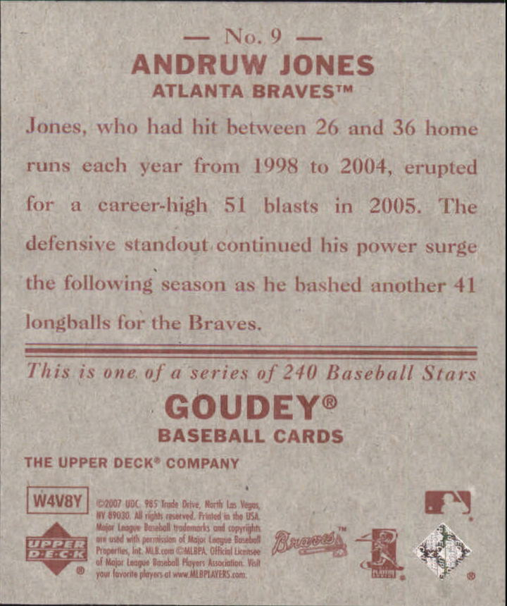 2007 Upper Deck Goudey Red Backs #9 Andruw Jones back image