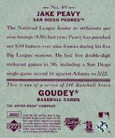 2007 Upper Deck Goudey Red Backs #49 Jake Peavy back image
