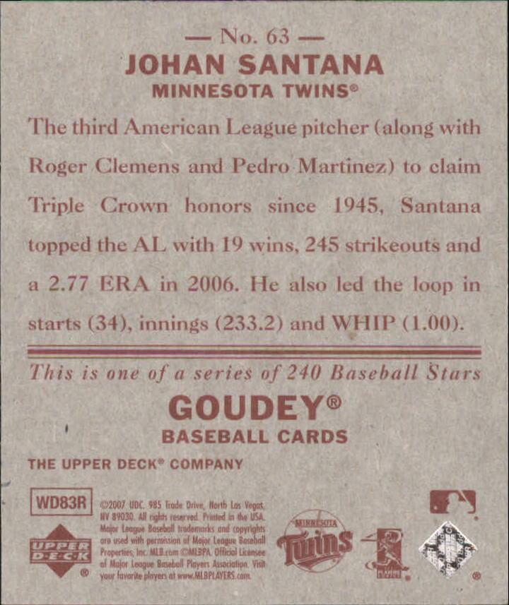 2007 Upper Deck Goudey Red Backs #63 Johan Santana back image