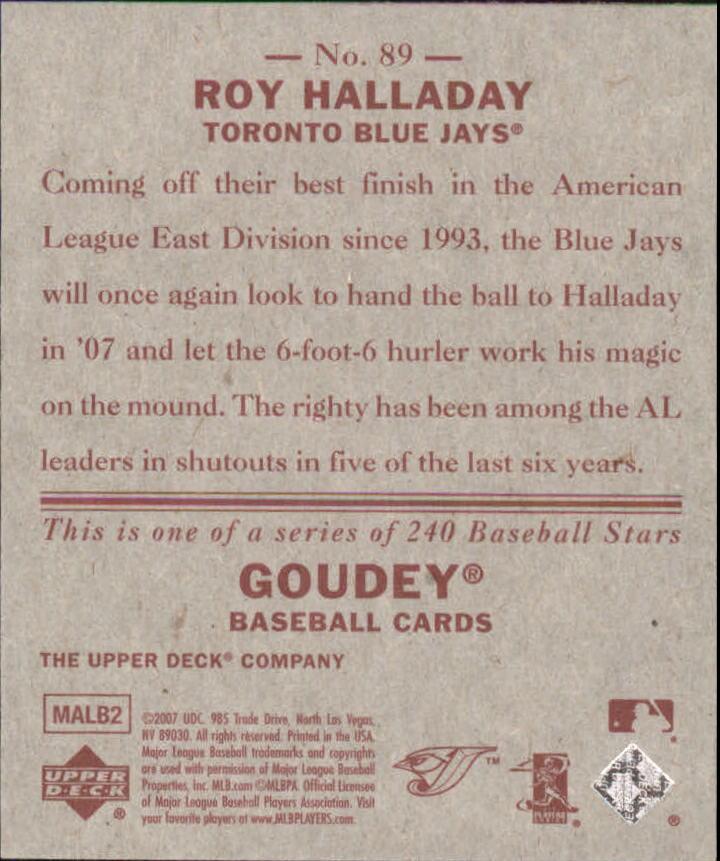 2007 Upper Deck Goudey Red Backs #89 Roy Halladay back image