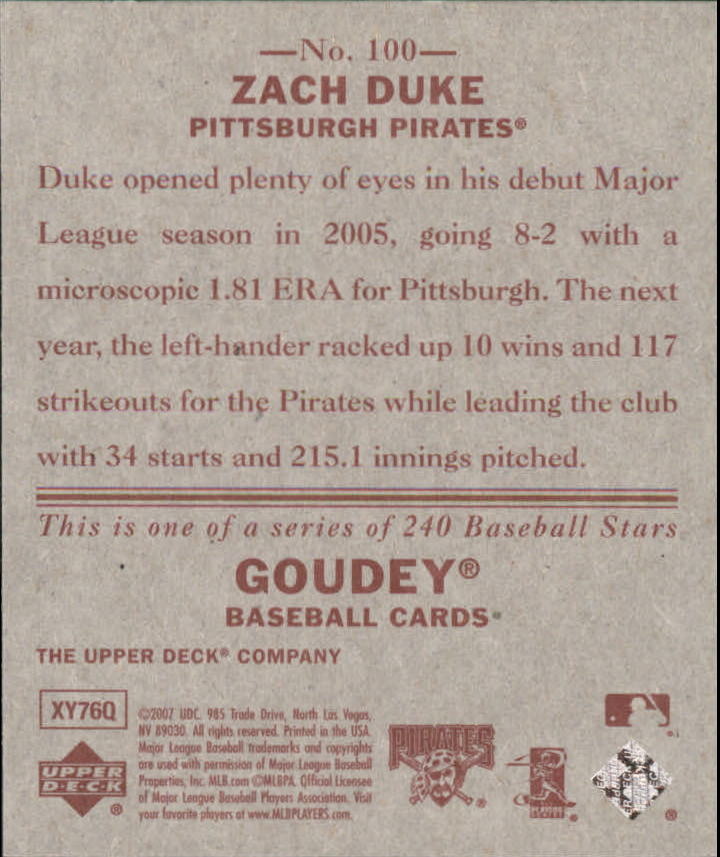 2007 Upper Deck Goudey Red Backs #100 Zach Duke back image