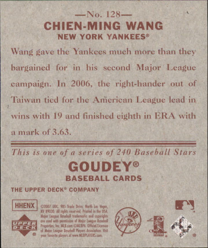 2007 Upper Deck Goudey Red Backs #128 Chien-Ming Wang back image