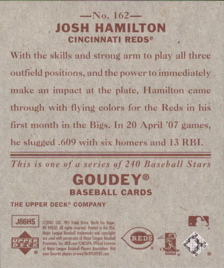 2007 Upper Deck Goudey Red Backs #162 Josh Hamilton (RC) back image