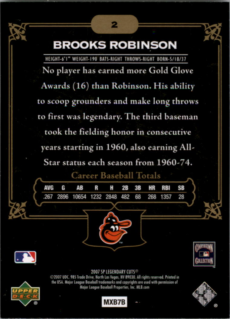 2007 SP Legendary Cuts #2 Brooks Robinson back image