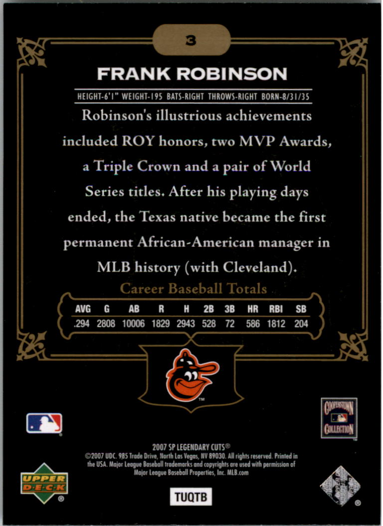 2007 SP Legendary Cuts #3 Frank Robinson back image