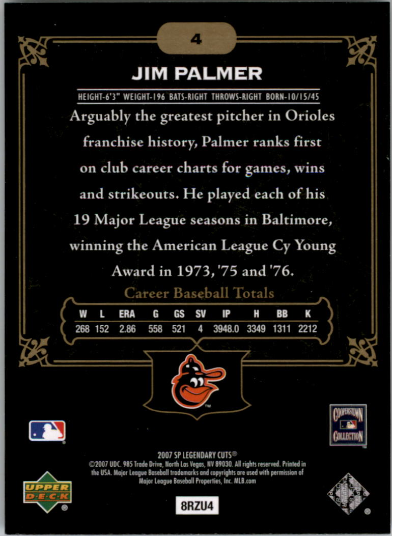 2007 SP Legendary Cuts #4 Jim Palmer back image
