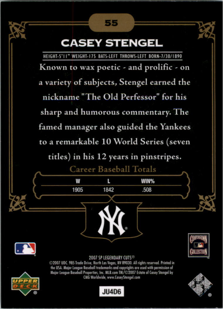 2007 SP Legendary Cuts #55 Casey Stengel back image