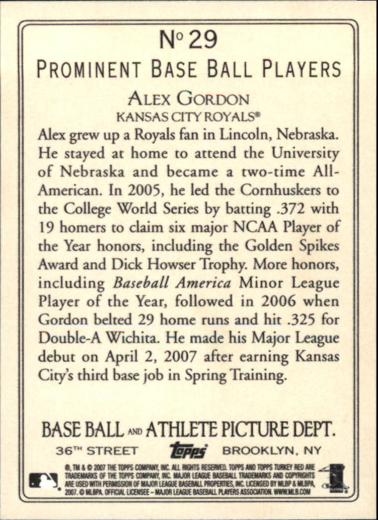 2007 Topps Turkey Red #29 Alex Gordon RC back image