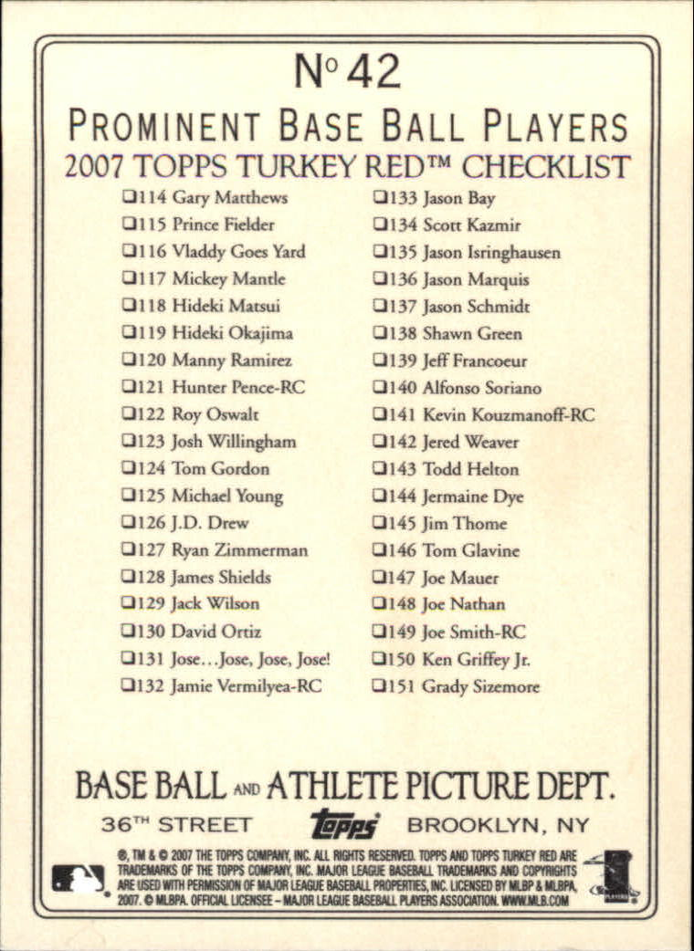 2007 Topps Turkey Red #42 Dice-K Daisuke Matsuzaka CL back image