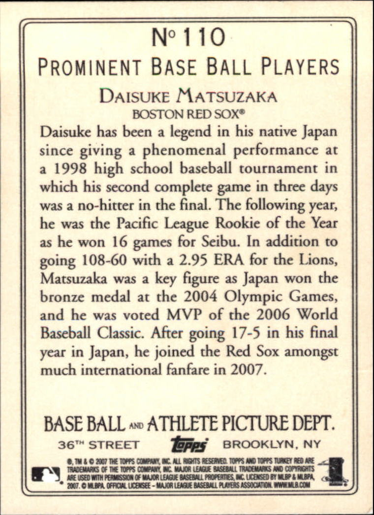 2007 Topps Turkey Red #110 Daisuke Matsuzaka RC back image