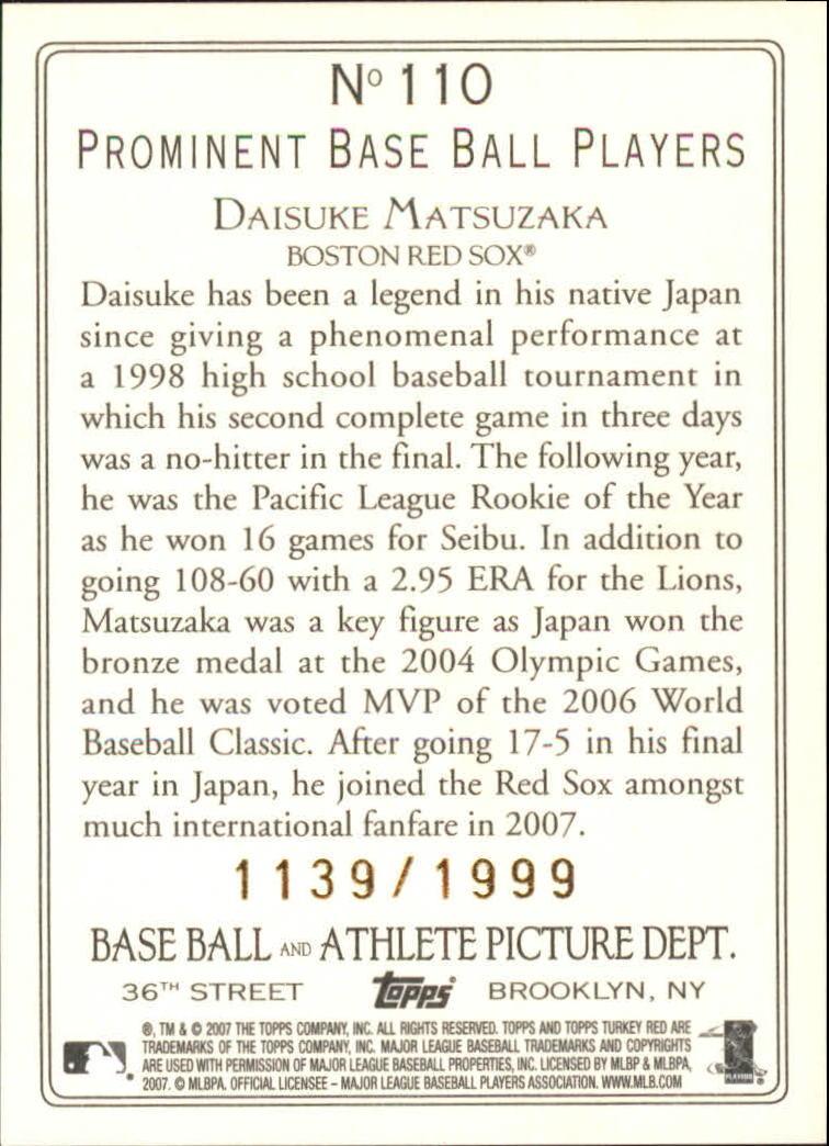 2007 Topps Turkey Red Chrome #110 Daisuke Matsuzaka back image