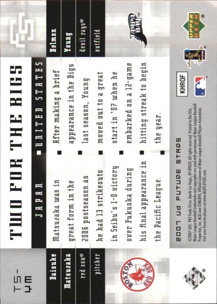 2007 Upper Deck Future Stars Two for the Bigs #YM Daisuke Matsuzaka/Delmon Young back image