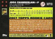 2007 Yankees Topps Gift Set #NYY10 Joba Chamberlain back image