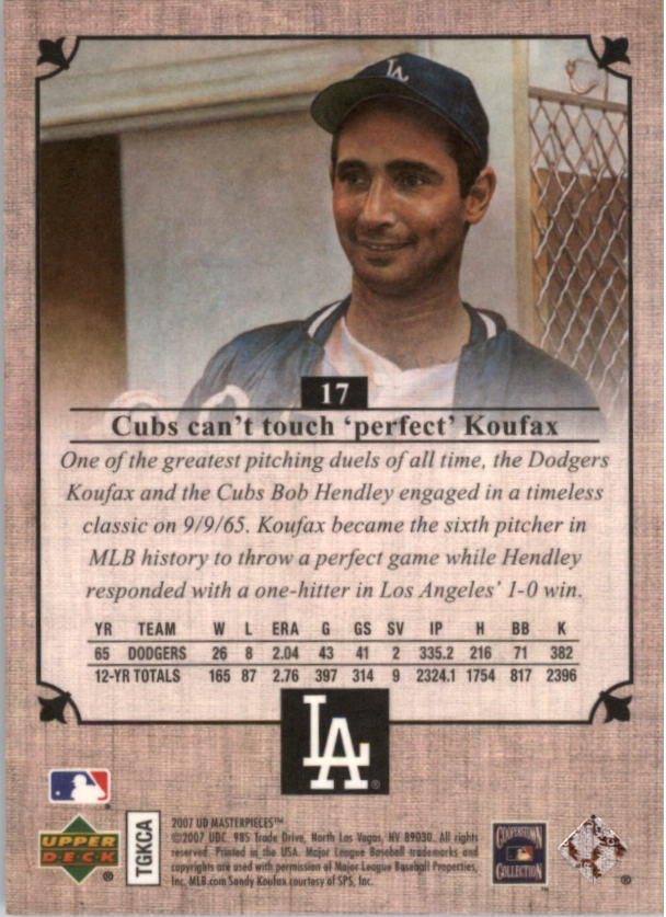 2007 UD Masterpieces #17 Sandy Koufax back image
