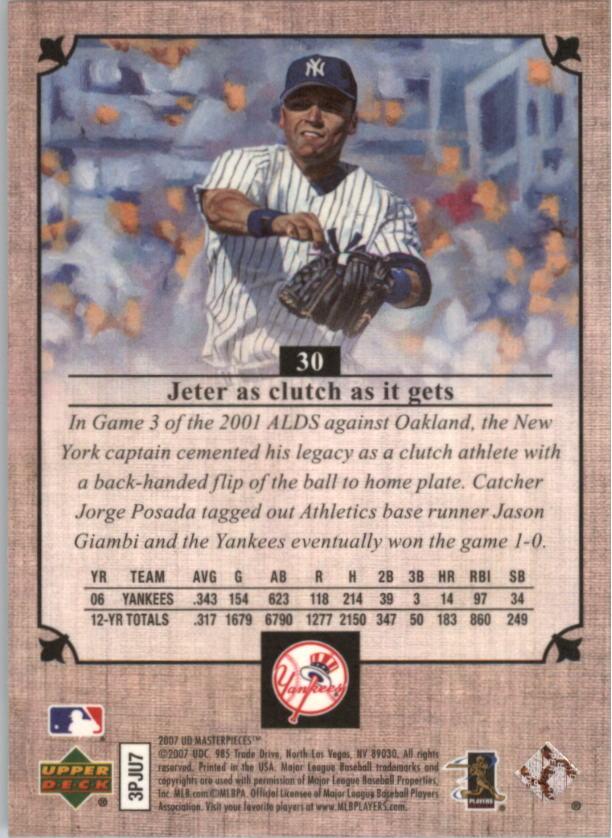 2007 UD Masterpieces #30 Derek Jeter back image