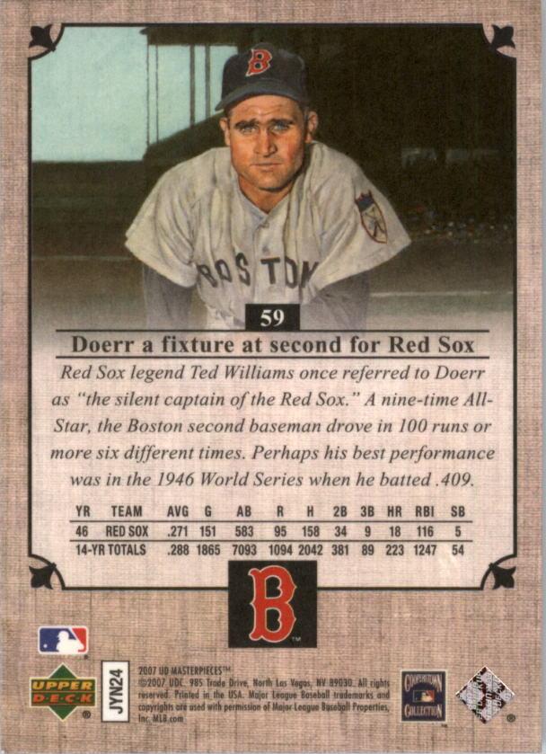 2007 UD Masterpieces #59 Bobby Doerr back image
