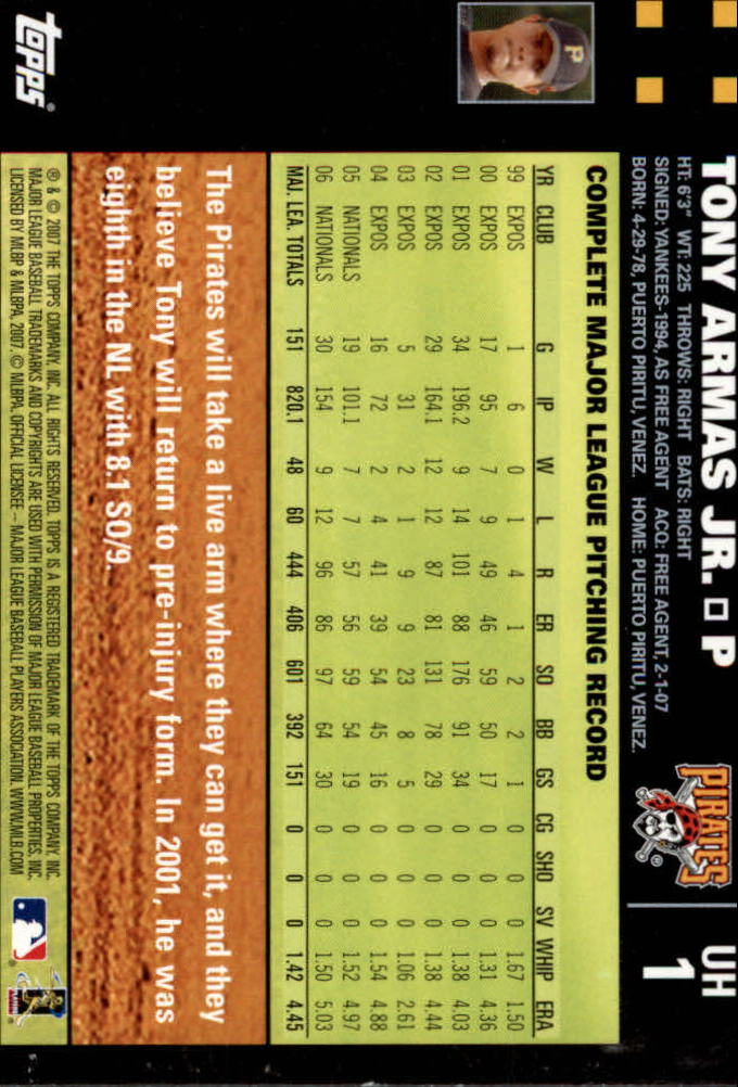 2007 Topps Update #1 Tony Armas Jr. back image