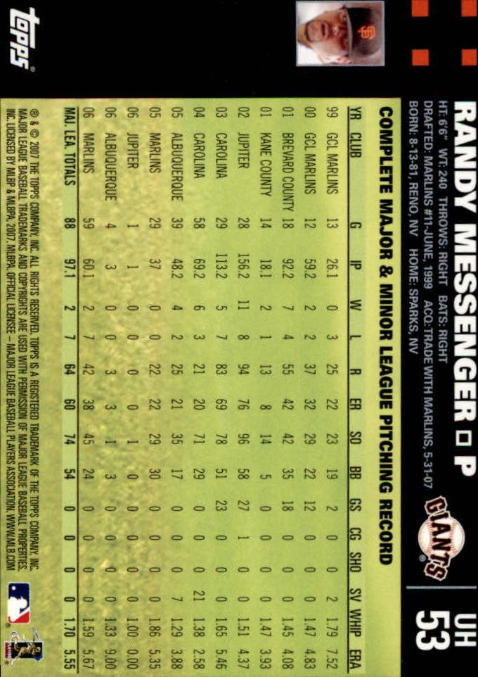 2007 Topps Update #53 Randy Messenger back image
