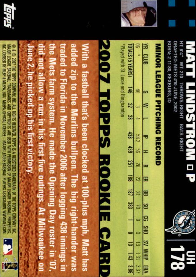 2007 Topps Update #178 Matt Lindstrom (RC) back image