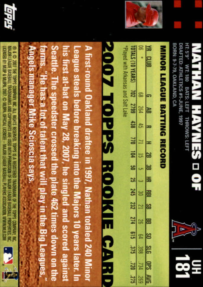 2007 Topps Update #181 Nathan Haynes (RC) back image