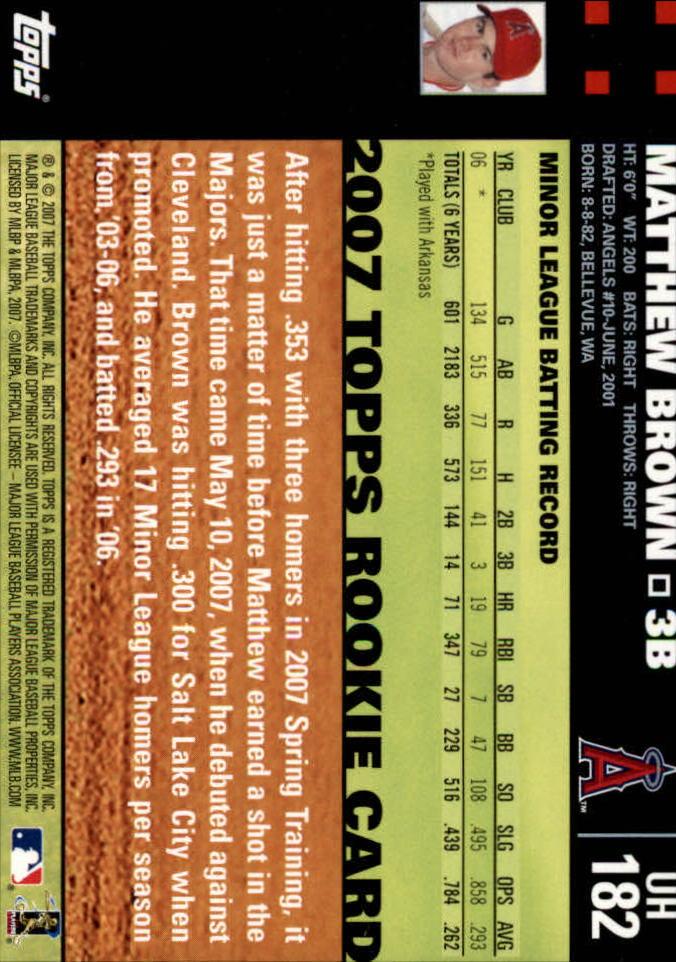 2007 Topps Update #182 Matt Brown (RC) back image
