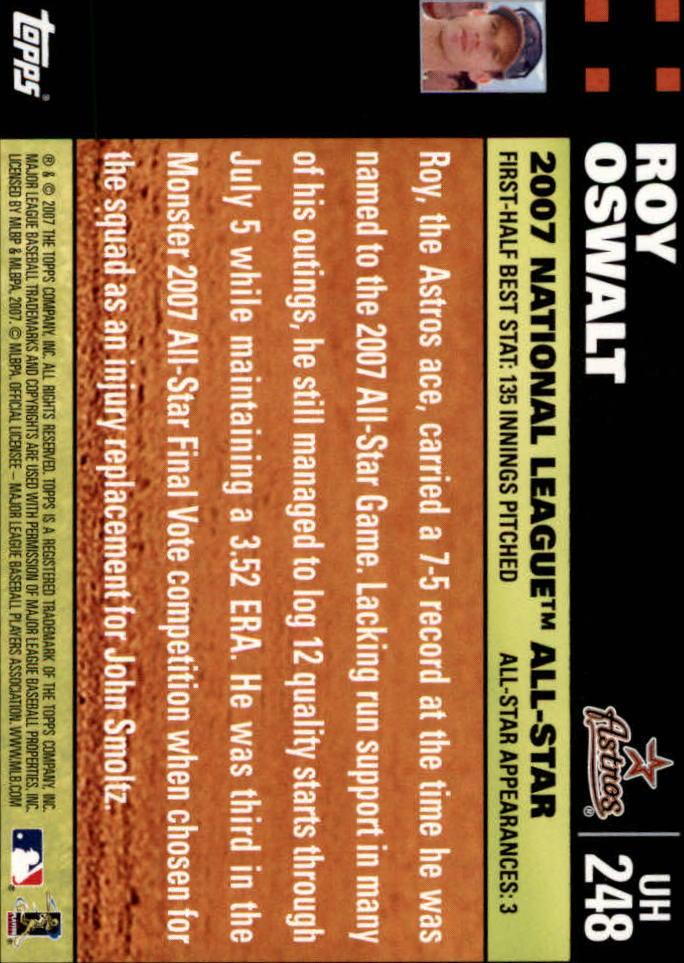 2007 Topps Update #248 Roy Oswalt back image