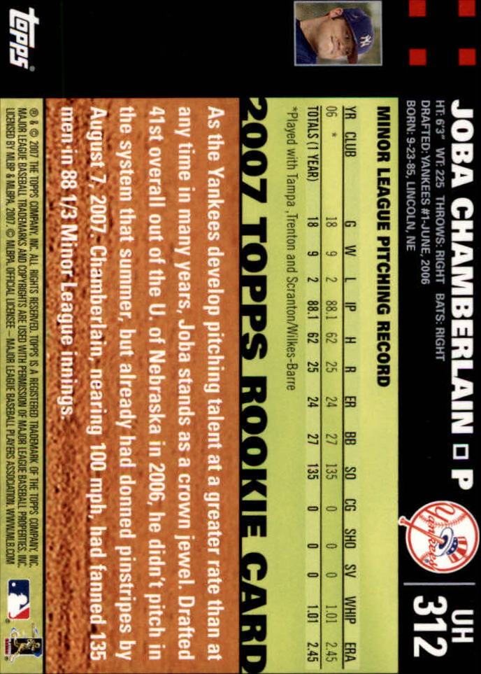 2007 Topps Update #312a Joba Chamberlain RC back image