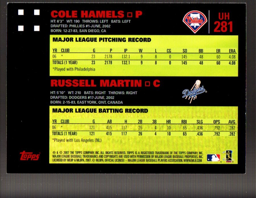 2007 Topps Update Red Back #281 Cole Hamels/Russell Martin back image