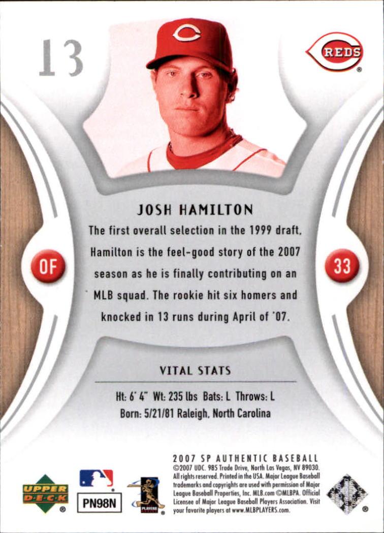 2007 SP Authentic #13 Josh Hamilton back image