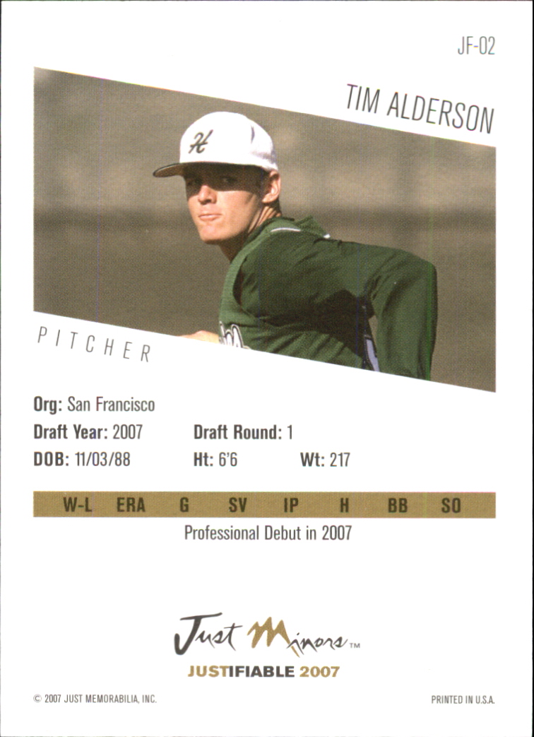 2007 Justifiable #2 Tim Alderson back image