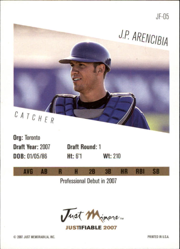 2007 Justifiable #5 J.P. Arencibia back image