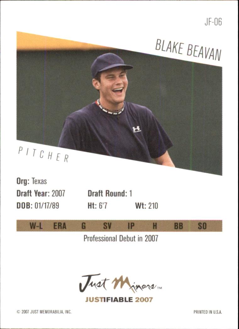 2007 Justifiable #6 Blake Beavan back image