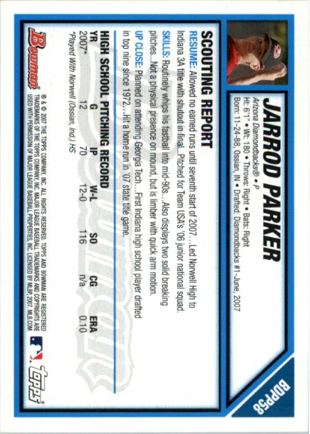 2007 Bowman Draft Draft Picks #BDPP58 Jarrod Parker back image