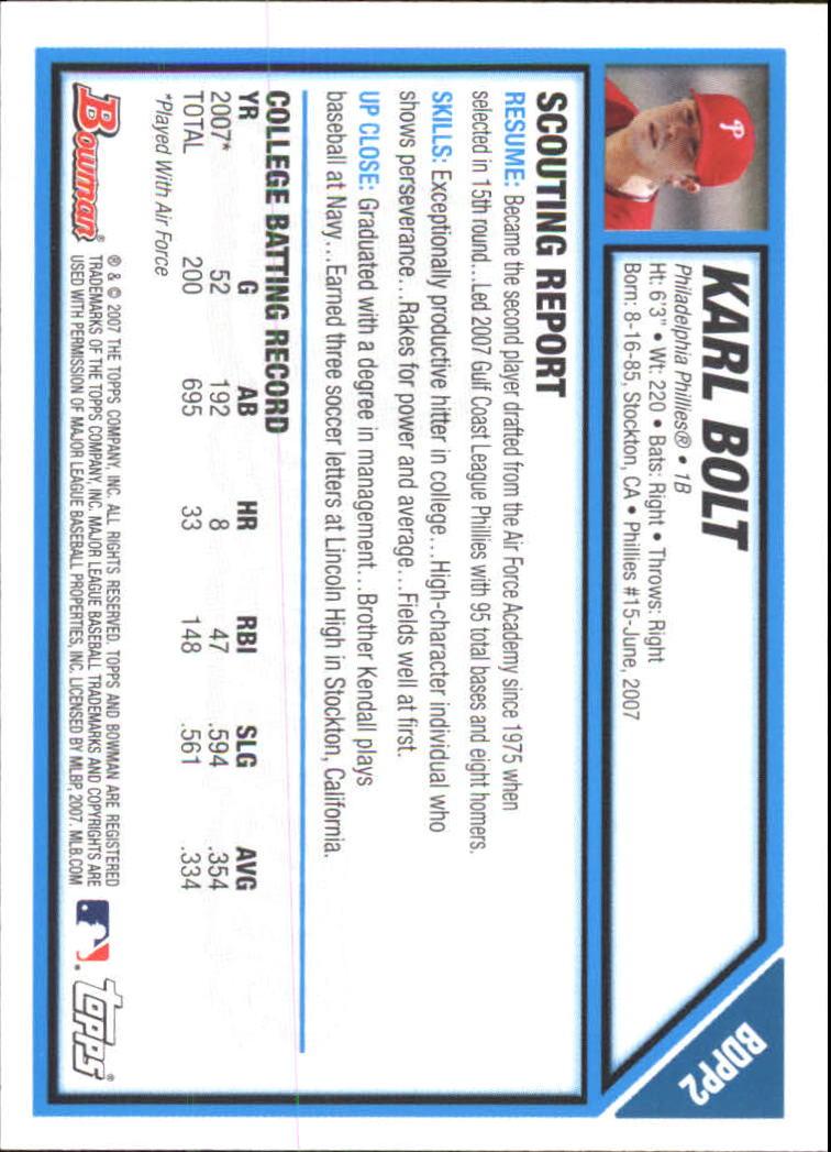 2007 Bowman Chrome Draft Draft Picks #BDPP2 Karl Bolt back image