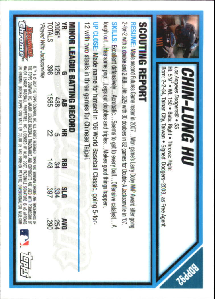 2007 Bowman Chrome Draft Future's Game Prospects #BDPP92 Chin-Lung Hu back image