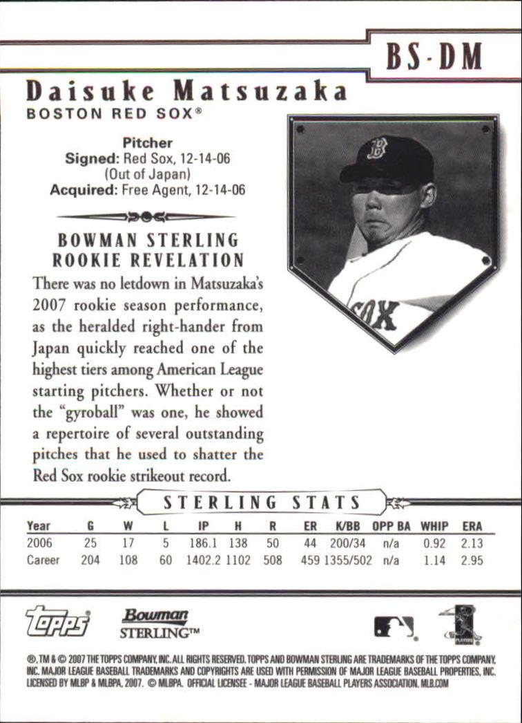 2007 Bowman Sterling #DM Daisuke Matsuzaka RC back image