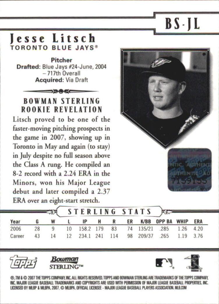 2007 Bowman Sterling #JL Jesse Litsch AU RC back image