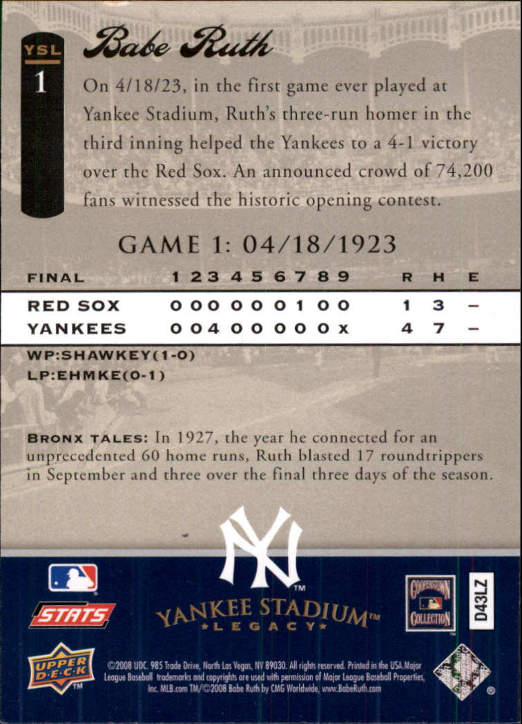 2008 Upper Deck Yankee Stadium Legacy Collection #1 Babe Ruth back image