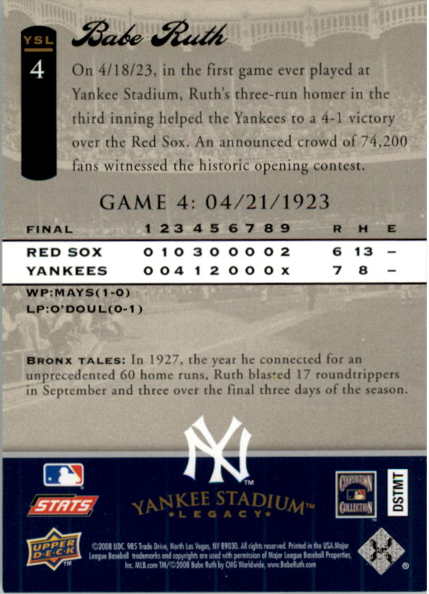 2008 Upper Deck Yankee Stadium Legacy Collection #4 Babe Ruth back image