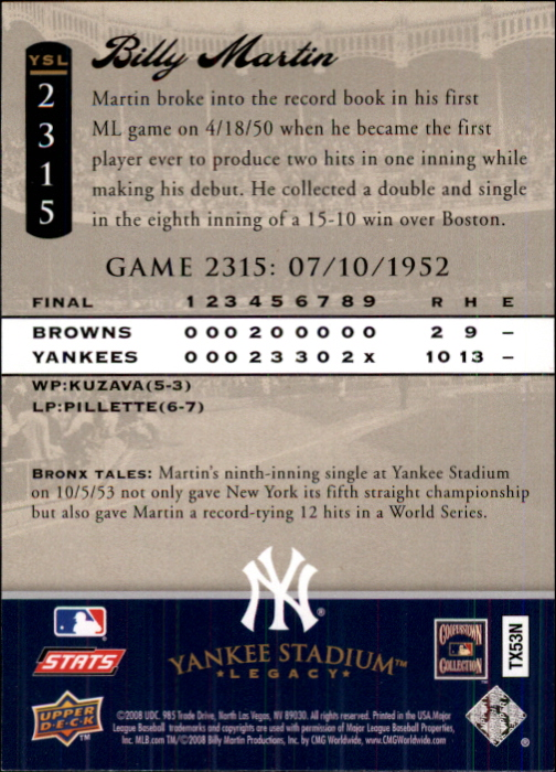 2008 Upper Deck Yankee Stadium Legacy Collection #2315 Billy Martin back image
