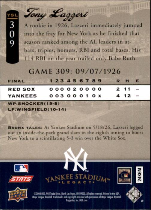 2008 Upper Deck Yankee Stadium Legacy Collection #309 Tony Lazzeri back image