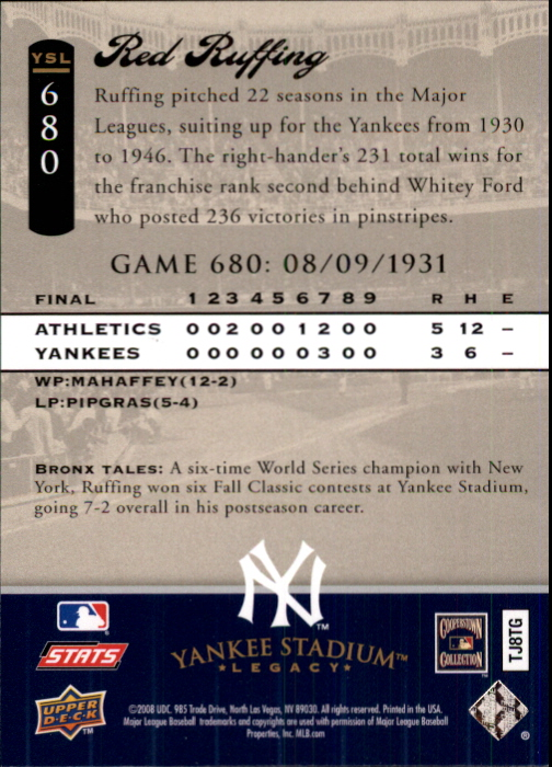 2008 Upper Deck Yankee Stadium Legacy Collection #680 Red Ruffing back image