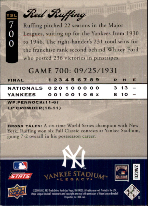 2008 Upper Deck Yankee Stadium Legacy Collection #700 Red Ruffing back image